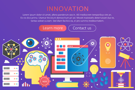 Vector trendy flat gradient color innovation concept template banner with icons and text