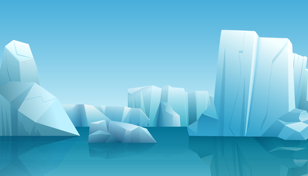 Vector Winter illustration of nature winter arctic landscape with ice iceberg, blue pure water and snow hills Illustration