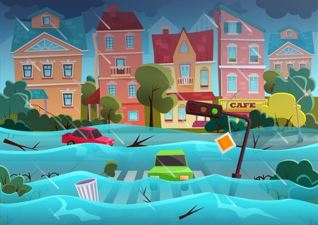 Flood natural disaster in cartoon city concept. City floods and cars with garbage floating in the water. Storm city landscape background for poster or card.