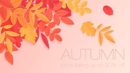 Trendy autumn sale banner with paper style bright color autumn leaves for poster design, flyer and label Illustration