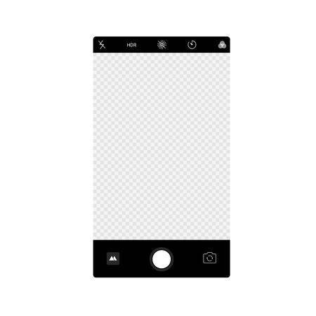 Smartphone camera app screen interface background. Vector viewfinder display mockup photo composer. Illustration
