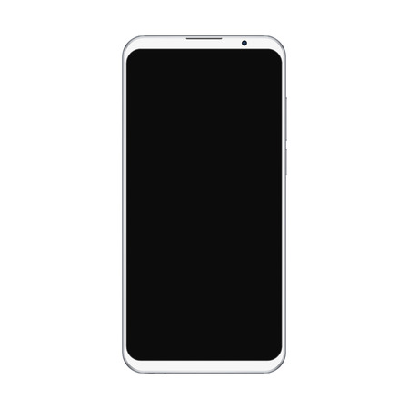 Realistic trendy white smartphone mockup with blank black screen isolated on white background. For any user interface test or presentation. Illustration