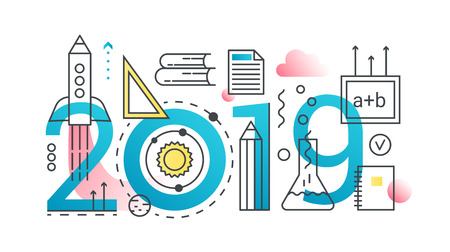 Education 2019 word trendy composition concept banner. Outline stroke school, univercity, knowledge, online learning and graduation. Flat line icons lettering typography Illustration