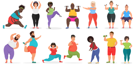 Fat cute people doing fitness exercise training. Man and woman gym workout vector illustration
