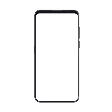 Realistic trendy smartphone mockup with thin frames and blank white screen isolated. Can be use for any user interface test or presentation.  イラスト・ベクター素材