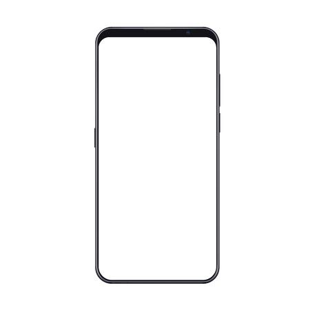 Mockup di smartphone alla moda realistico con cornici sottili e schermo bianco vuoto isolato. Può essere utilizzato per qualsiasi test o presentazione dell'interfaccia utente.