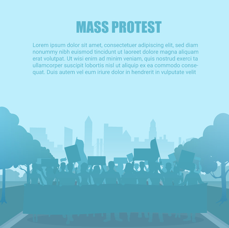 Silhouette style protest people crowd vector illustration. Manifestation demonstrate in city concept.