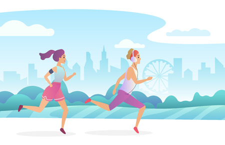 Happy couple running in the city public park. Trendy gradient flat style vector illustration
