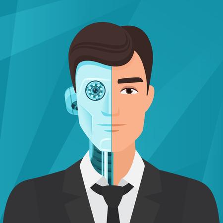 Half cyborg, half human man businessman vector illustration Vektorové ilustrace