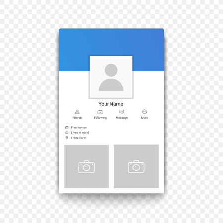 Social network mobile app profile template on the transperant alpha background