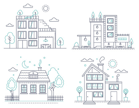 Thin line countryside suburban american house with trees set. Vector illustration for infographic, web design and application interfaces Illustration