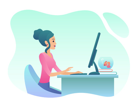 Young woman works on desctop pc in office. Trendy gradient color vector illustration