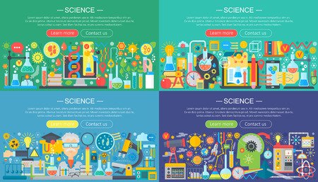 Science, laboratory flat color templates set. Vector chemistry infographic concept background for flyear, magazines, posters, book cover, banner
