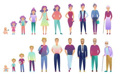People male and female aging process. From baby to elderly person growing set. Trendy fradient color style vector illustration Ilustrace