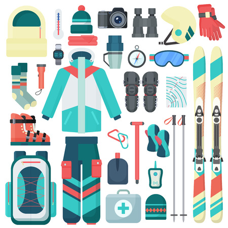 Winter skiing equipment vector icons set. Travel sport mountain activity equipment isolated