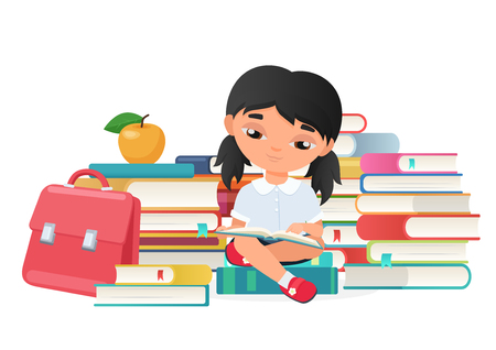 Cute little girl reading a books isolated on white background