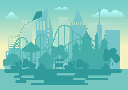 Modern Amusement park silhouette landscape vector illustration