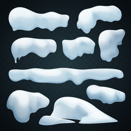 Snow caps vector set. Realistic Snowdrift. New Year winter ice elements collection Çizim