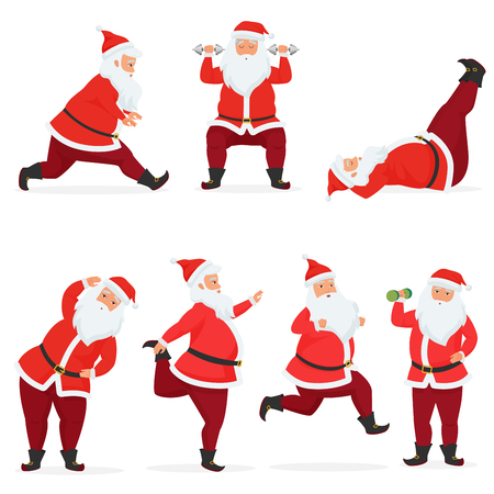 Vector funny and cute Santa Claus set does gym exercises with dumbbells and barbell isolated. Sport fitness santa