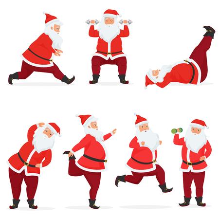 Vector grappige en schattige kerstman set doet gym oefeningen met halters en barbell geïsoleerd. Sport fitness kerstman