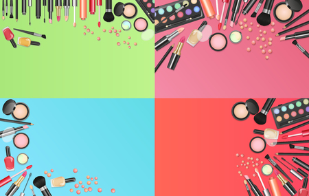 Cosmetics fashion background with make up artist tools. Place your text template vector illustration