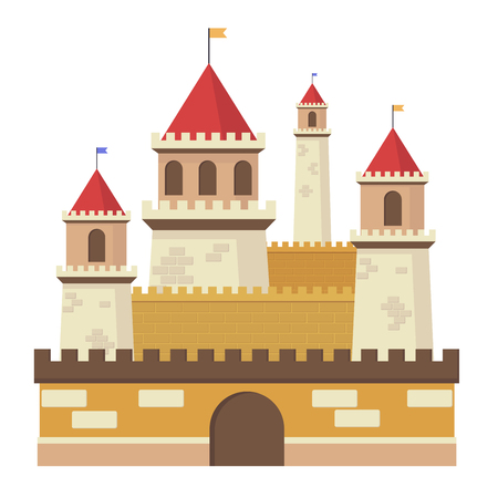 Cute fantasy middle sentury castle isolated vector illustration.