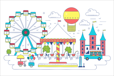 Amusement park flat line vector illustration. Circus, ferris wheel, attractions, aerostat balloon in air. Stock Photo
