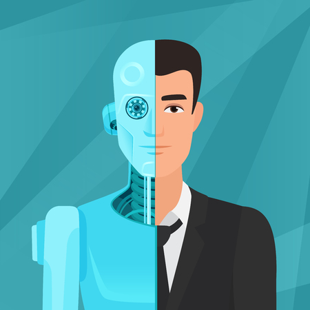 Half cyborg, half human man businessman in suit vector illustration.