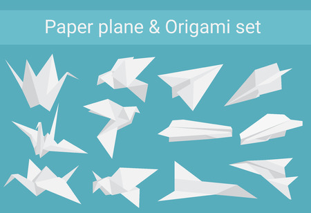 Vector set of paper planes airplane and cranes origami birds. Ilustracja