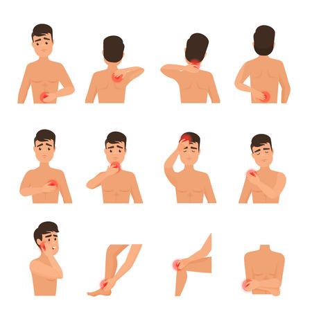 Schmerz im menschlichen Körper. Mann fühlt Schmerz-Infografik-Set
