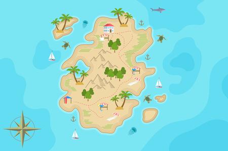 Pirate fantasy cartoon island map. Vector Treasure island