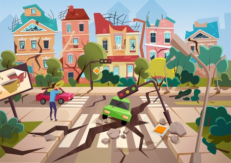 Earthquake Disaster with realistic ground crevices and small destroyed town houses vector illustration design Çizim