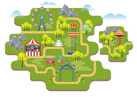 Cartoon vector amusement park map background isolated.