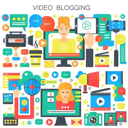 Wideo blogowanie, edukacja webinarowa, koncepcja płaskiego wektorowego blogera płci męskiej i żeńskiej