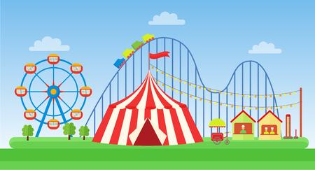 Vector Flat illustration of classic Amusement park. Illustration