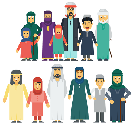 Muslim people father, mother, grandmother, grandfather, son and daughter standing together. Traditional islamic muslim family vector illustration. Illustration