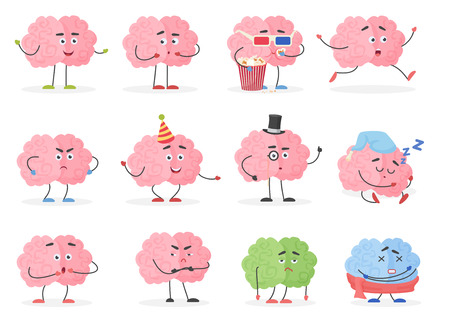 Brain character emoji emoticons set. Funny cartoon brain emotions and activities vector illustration