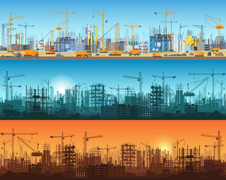 Horizontal banner of city or website construction. Tractors, grader, bulldozers, excavators and tower cranes with skyscraper under construction. Silhouette and trendy flat vector illustration