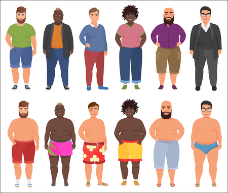 Fat man in casual and summer underwear clothes set. Plus size male people