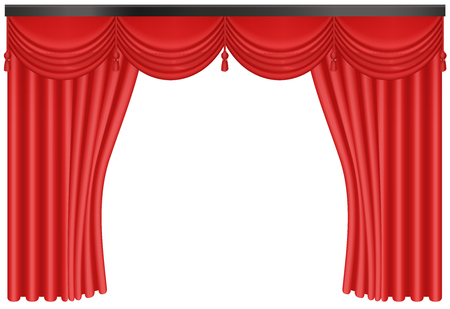 Realistic Red silk curtains backdrop entrance vector illustration.