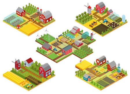 Vector 3d isometric rural farms set with tractor, combine harvester, house, fields windmill and warehouses