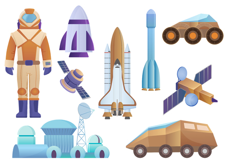 Spacecrafts, colony building, rocket, cosmonaut in space suit, satellite and mars robot set. Vector galaxy space set isolated on the white background.