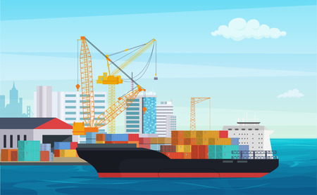 Logistics truck and transportation container ship. Cargo harbor port with industrial cranes. Shipping yard vector illustration