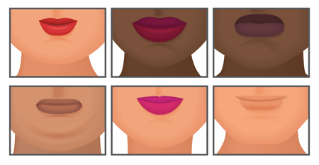 Woman with realistic double fat chin set vector illustration