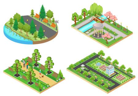 3d Isometric cartoon style green city public park concepts set vector illustration