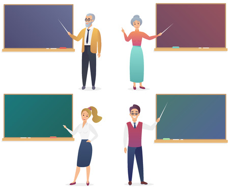 Young man, woman, senior male and female teachers near blackboard set. Trendy gradient color vector illustration teacher isolated