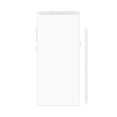 High quality new version of soft clean white elegant note smartphone with blank white screen. Realistic vector mockup tablet pad for visual ui app demonstration.