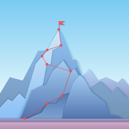 Mountain climbing route to peak. Business progress motivation, discipline and goal achieving concept vector illustration. Paper cuted mountain peak, climbing route to top of rock