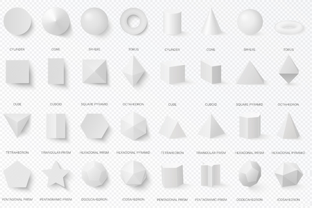 Realistic white basic 3d shapes in top and front view isolated on the alpha transperant background. Ilustração