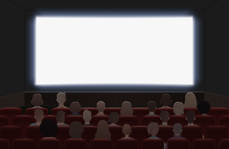 People watching movie at cinema hall interior vector illustration. Back view